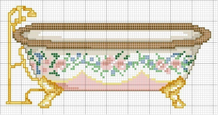 bathtub -- free cross stitch pattern