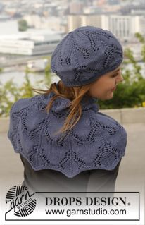 """Knitted DROPS hat and shoulder warmer with lace pattern in """"Merino Extra Fine"""". ~ DROPS Design"""