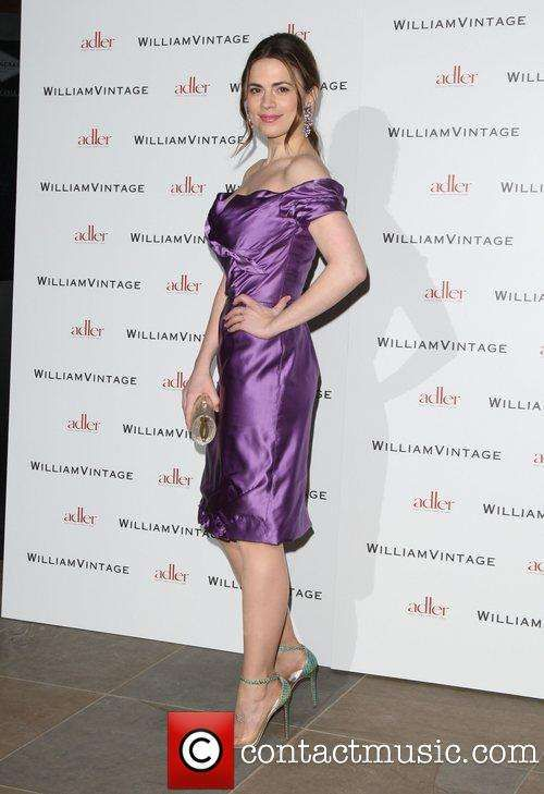 Hayley Atwell in Satin Off Shoulder Dress