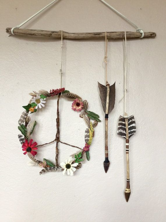 Boho Hippie Wildflowers Feathers Wooden Peace by FoundandFeathers
