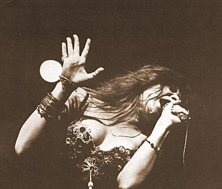 I had to find a picture of Janis Joplin in the midst of song. Her entire being was a musical instrument. It chanelled through her like a bright light.