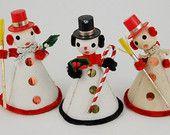 Vintage Snowman Figurines , Set of 3 - Japan , Midcentury Christmas ,  Made in Japan , 50s Christmas , Spun Cotton Snowman , Christmas Putz