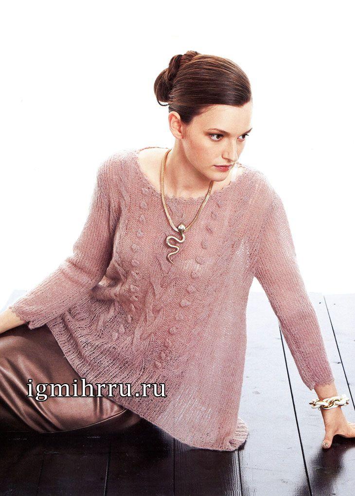 Пуловер-трапеция с узором из шишечек и кос. Вязание спицами