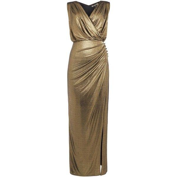 Biba Wrap Detail Metallic Maxi Dress (€80) ❤ liked on Polyvore featuring dresses, sale women dresses, metallic maxi dress, v neck dress, biba, wrap maxi dress and maxi dresses