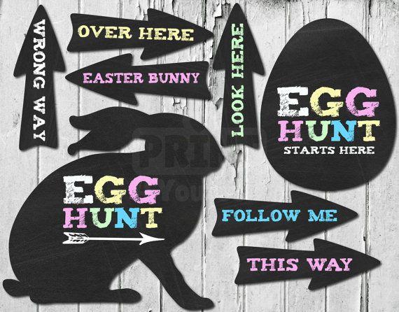 Easter Egg Hunt // Instant Download Chalkboard by Print4Yourself