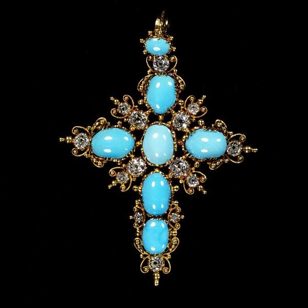 Pendent - Gold, turquoise and diamonds 1830