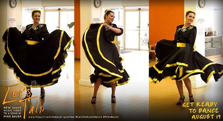 """Janice Garcia - who is featured in her beautiful Mexican Folklore dress in main """"Let's Talk"""" promo - began dancing at the age of 5, first with ballet classes, followed by tap at age 11. She says she has always loved dancing. """"I guess I really never stop dancing,"""" she said. """"It's one of my favorite things to do. I actually dance as I'm cleaning the house.. it's really the only way to clean."""" #LetsTalkLetsDance #MikeBauer"""