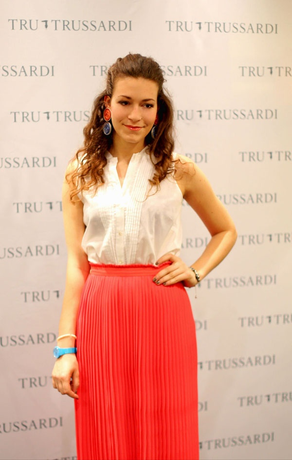 At TruTrussardi event  Total look by TruTrussardi  I love the long skirt!  See more on: http://www.nuagerose.com