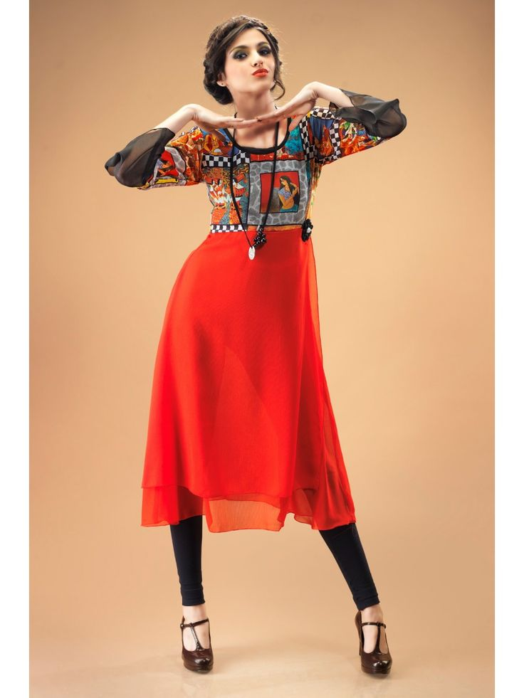 Dazzling Red Georgette Kurti Containing Digital Prints