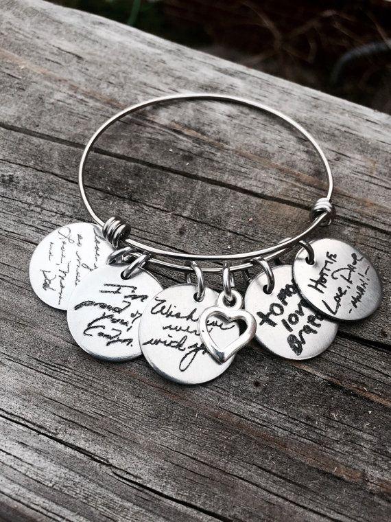 Custom Handwriting Bracelet Handwriting Jewelry by CJTangles
