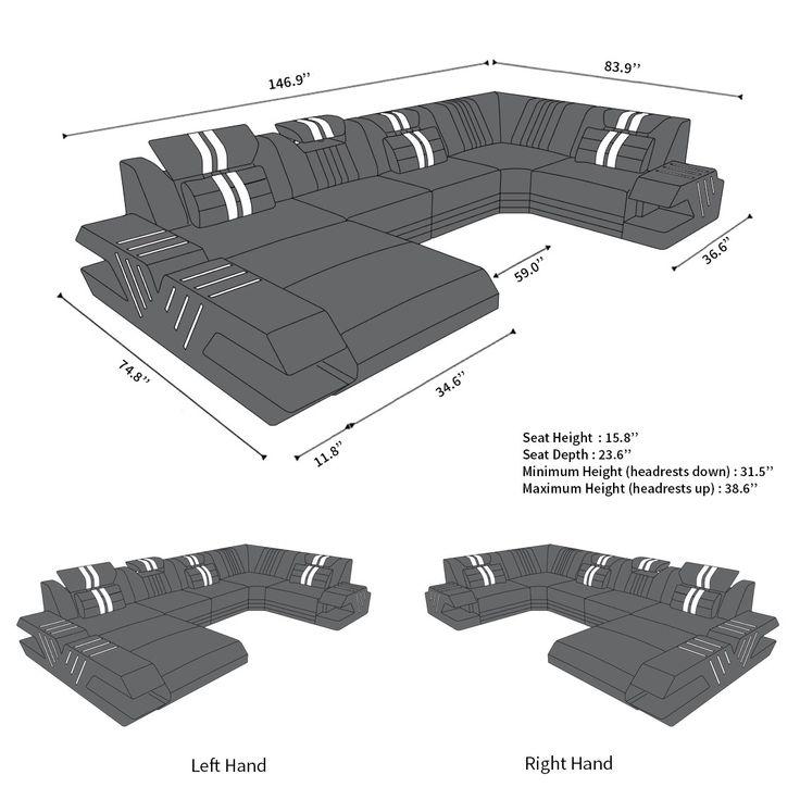 Design Leather Sofa Beverly Hills U Shape – Home Theater