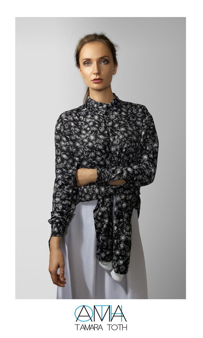 Floral printed sweatshirt and floral cropped shirt.