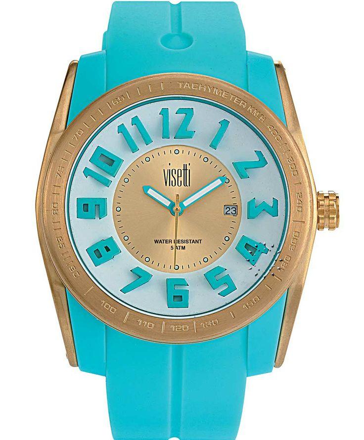 VISETTI Bolero Gold Cyan Rubber Strap Μοντέλο: FC-751GLC Τιμή: 55€ http://www.oroloi.gr/product_info.php?products_id=39470