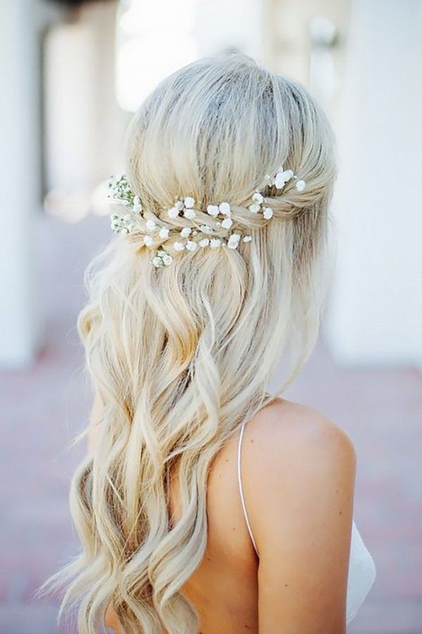 Half Up Half Down Wedding Hairstyles Ideas- Flower in hair