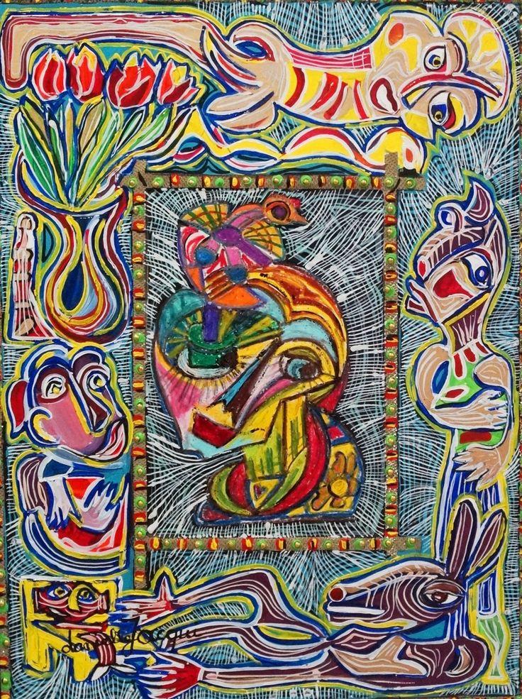 """Danielle Jacqui, techniques mixtes/mixed media, 65x80, """"Les tulipes"""", 2016. #OAFNY17 #Polysémie"""