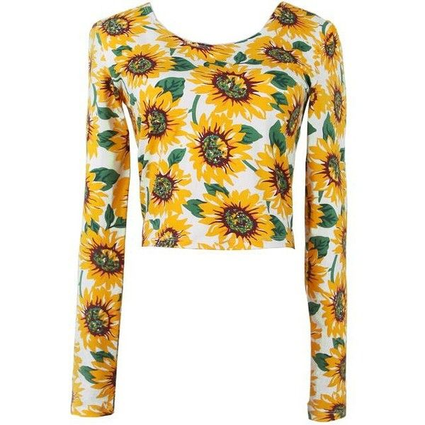 Yellow Long Sleeve Sunflower Print Crop Tee ❤ liked on Polyvore featuring tops, t-shirts, long sleeve t shirts, white tees, white crop tops, white t shirt and white crop t shirt