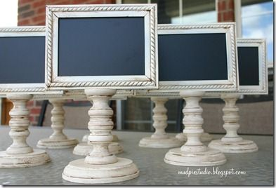 ~ too cute framed chalkboards on a little stand ~ would be great for catered events or a drink station ~ from mudpiestudioblogspot.