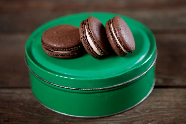 Here is an image of our Peppermint Mocha French Macaron. Order online at: www.bakeitorcleaveit.com  Image by Hannah Betts