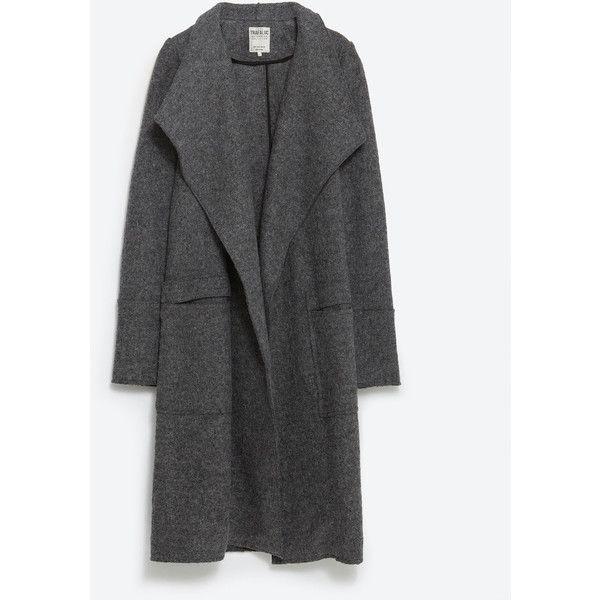 Zara Wool Coat (10.480 RUB) ❤ liked on Polyvore featuring outerwear, coats, dark grey, wool coat, woolen coat y zara coat