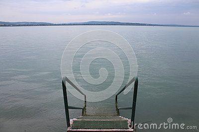 Lake Balaton in cloudy weather