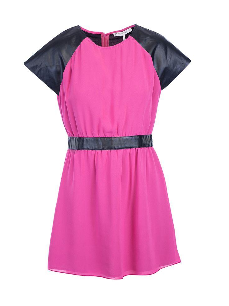 House Of Harlow 1960 Pink Chiffon Vegan Leather Dress