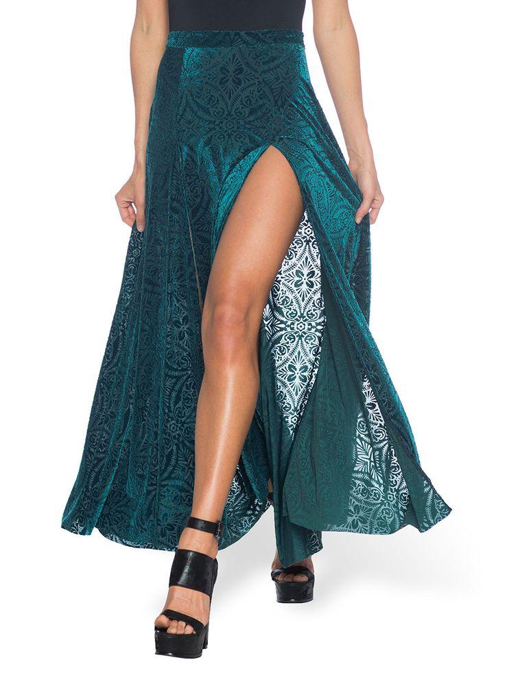 Burned Velvet Elm Split Skirt - LIMITED (AU $99AUD) by Black Milk Clothing                                                                                                                                                                                 More