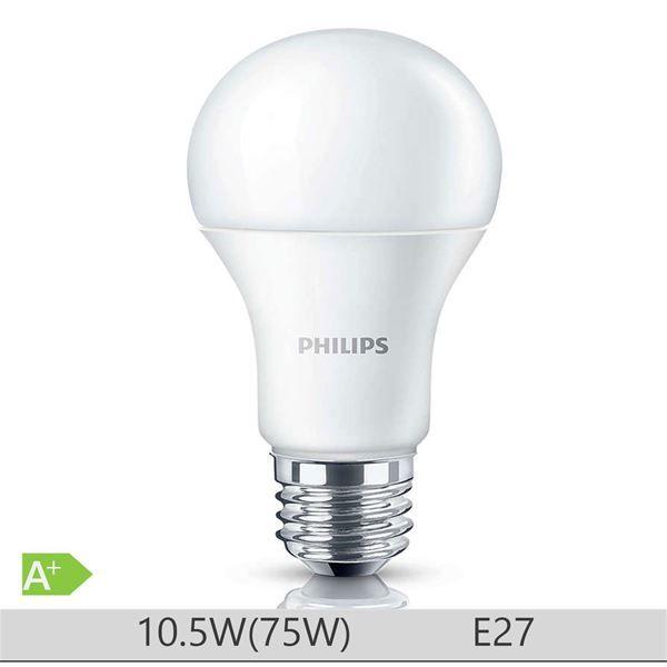Bec LED Philips 10W E27 forma clasica A60, lumina rece http://www.etbm.ro/becuri-led