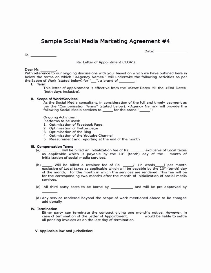 Social Media Marketing Contract Template Elegant Social Media Contract Templates Word Excel Sample Service Agreement Templates Contract Template Templates Word