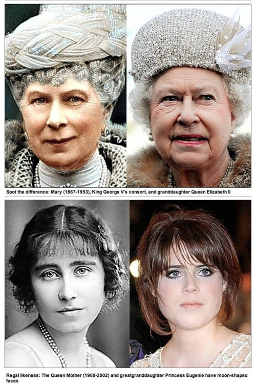 Look a likes. Queen Elizabeth compared to her grandmother, Mary, wife to George V. Princess Eugenie (daughter of Prince Andrew and Sara Ferguson) compared to her great-grandmother, who was Queen Elizabeth's mother.
