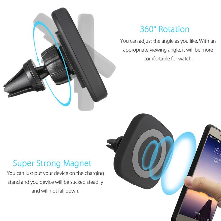 Qi Wireless Magnetic Air Vent Holder Charger Stand for Samsung S8 Plus S7