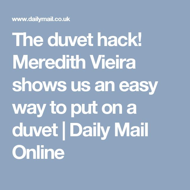how to put on a duvet cover meredith