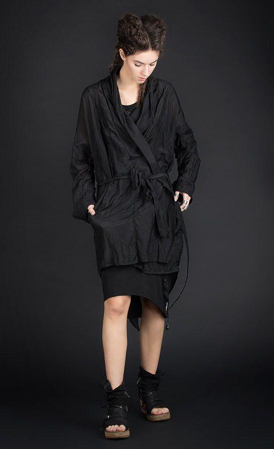 BAYETT - Semi-sheer kimono black jacket oversized fit | Studio B3 |
