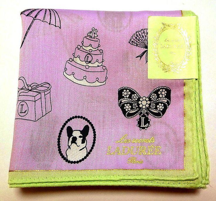 Laduree Handkerchief hanky scarf bandana Purple Eiffel Tower Cotton Auth New #Laduree #DesignerArtist