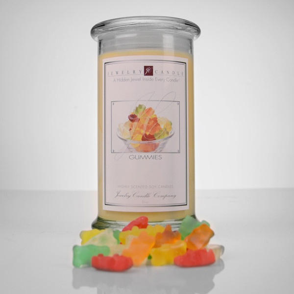 Gummy Bears scent in a Jewelry Candle?!?! Yep, we've done it again hehe We've managed to create another fun Jewelry Candle with one of the best scents ever!!! There is really no need to make introductions with this Jewelry Candle, just pick up your candle, light it up and grab your bag of gummy bears to snack on because that is what I have to do every time I light one=)