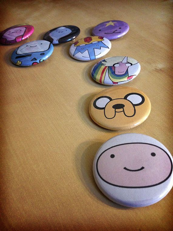 Adventure Time Pinback Buttons - SINGLE - Finn the Human Jake the Dog Lumpy Space Princess LSP Ice King Marceline Bubblegum Lady Rainicorn BMO Stocking Stuffers $2.00