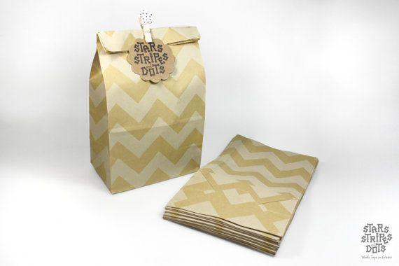 Flat bottom paper bag kraft paper chevron by StarsStripesAndDots, €4.99
