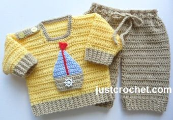 Free baby crochet pattern for boy's sweater and pants set http://www.justcrochet.com/sweater-pants-usa.html #justcrochet #patternsforcrochet: