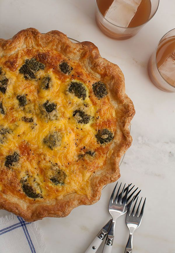 Sunday brunch plans? This broccoli and cheddar quiche recipe has a flakey crust that can be prepared in advance. Get the recipe from @pbsfood.  (Recipe Credit: Adrianna Adarme)