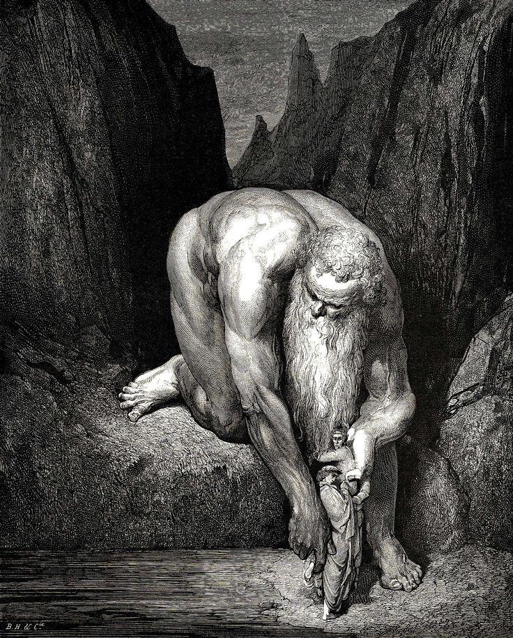 """Gustave Doré (1832-1883) - """"Il nous plaça délicatement au fond de la gorge où Lucifer & Judas furent torturés"""" - Illustration de """"La Divine Comédie"""" de Dante Alighieri - L'Enfer, Chant 31, lignes 102-136."""