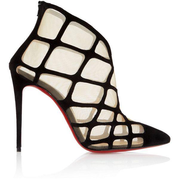 christian louboutin peep-toe pumps Black suede mesh cutouts | The ...