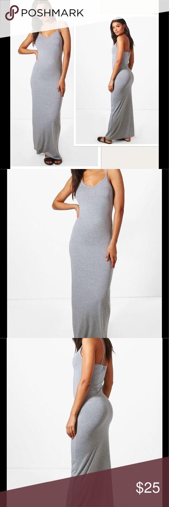 "NWT Grey Maxi Dress Sz 6 95% Viscose, 5% Elastane. Flat Measurement of Garment: Shoulder To Hem 58"", Bust 28"". Machine Washable. Model Wears Size 6. Brand sold at ASOS.com. Asos Dresses Maxi"