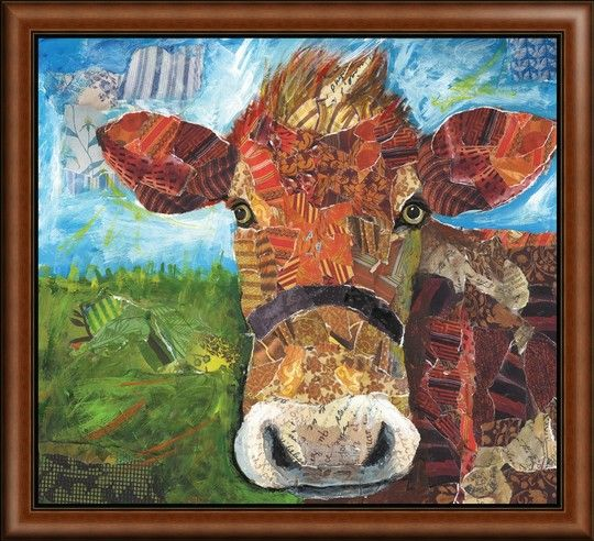"""""""Brown Cow Collage"""" by Lori Siebert is the perfect mixed media art for any urban farmhouse decor. Shop now at GreatBIGCanvas.com"""