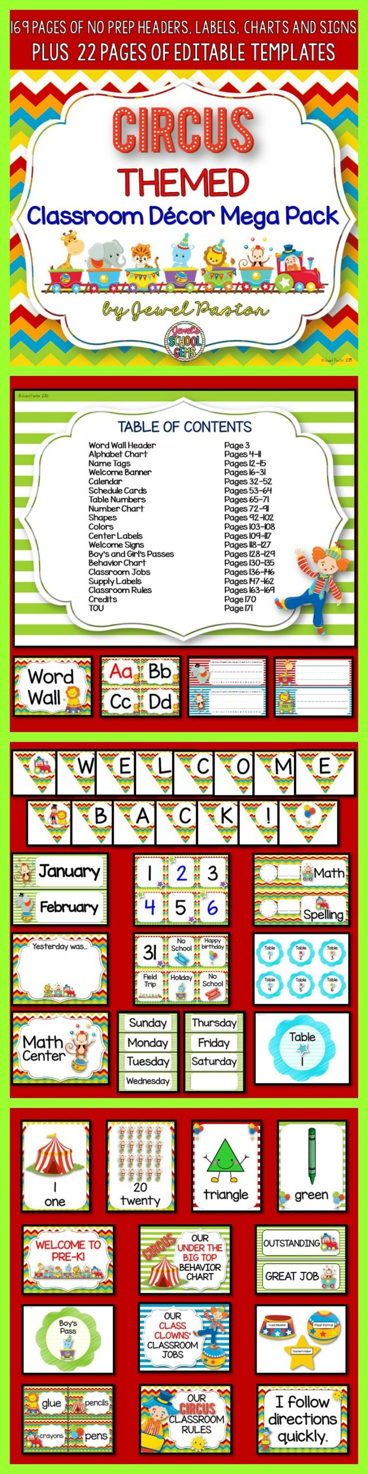 Circus Theme : Circus Theme  Bring your class under the big top with this Circus Themed Classroom Decor Mega Pack. This resource comes with 169 pages of NO PREP HEADERS, LABELS, CHARTS AND SIGNS plus 22 pages of EDITABLE PARTS/TEMPLATES.