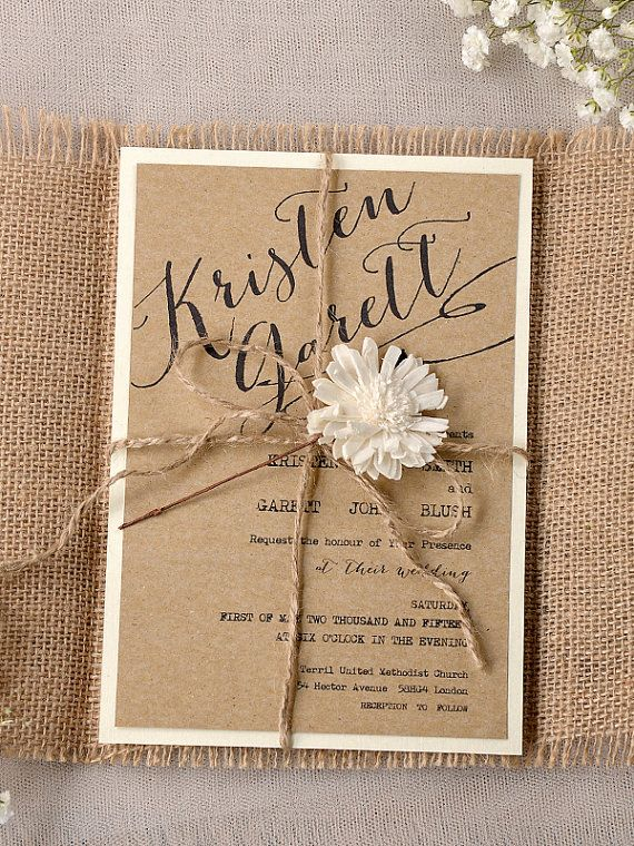 Eco Chic Invitation, Eco Recycling Invitations, Burlap Wedding Invitations , Rustic Wedding invitation, on Etsy, $6.00