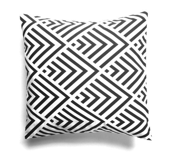 Cushion cover in bold black and white geometric by RhapsodyInc