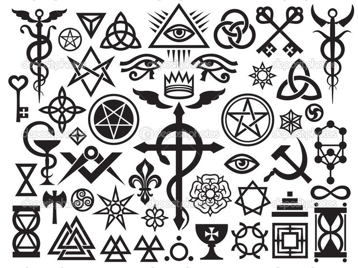 Ancient Occult Symbols | Medieval Occult Signs And Magic Stamps — Stock Vector © Photon ...