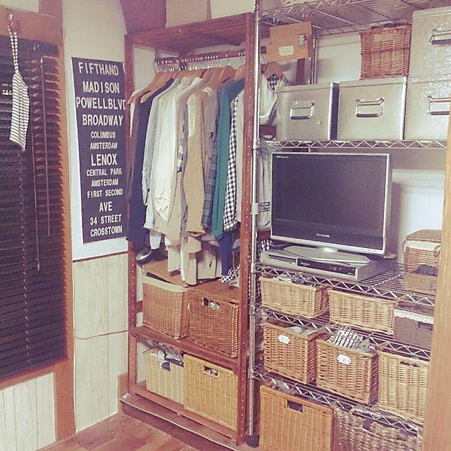 TV棚/木製ブラインド/セリア/バスロールサイン風/かごがいっぱい。/ニトリのラック…などのインテリア実例 - 2014-04-20 21:34:08 | RoomClip(ルームクリップ)