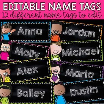 12 different editable name tags!