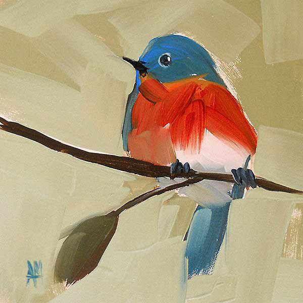 Details zu Bluebird No. 21 Angela Moulton Tier Vogel Leinwand 16×16