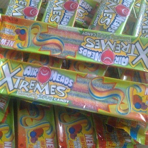Air Heads Xtremes...my favorite! Can't eat them after I get braces soon.....